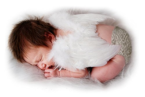 FashionWings (TM) White Feather Angel Wings & Halo for Newborn 0-6 Mo Babies (Cupid Baby Costume)