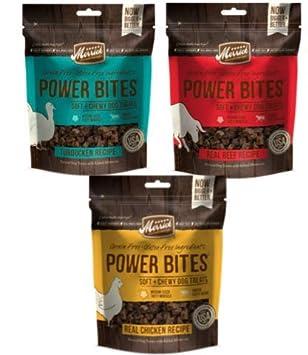 Merrick Power Bites Grain Free Soft Training Treats 3 Flavor Variety Bundle 1 Real Beef Recipe, 1 Real Chicken Recipe, 1 Turducken Recipe, 6 Oz. Ea.