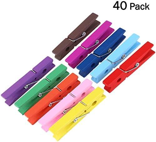 [해외]OUNONA 40pcs 내구성 2.9 인치 나무 옷 의류 구슬 핀 (색상 랜덤) / OUNONA 40pcs Durable 2.9 Inch Wooden Clothing Clothing Pegpin (Random Color)