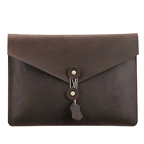 - TechCode Case Cover for 15.4'' Retina MacBook Pro, Leather Clutch Portfolio Bag Envelope Portfolio Vintage Stylish Simple Design Retro Dark Brown Handbag for 15.4 inch Retina Pro (15.4 inch)