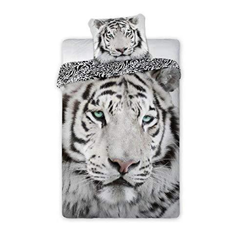 Tigre Blanc Albinos Parure de lit 2 pi/èces 140 x 200 cm taie doreiller 70 x 90cm Nature Animaux White Tiger Lit Simple FARO