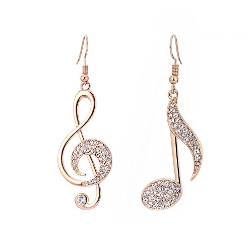 Musical Note Earrings - Women Dangle Earrings, Stylish Musical Note Drop Earring for Girls Shining Rhinestone Earring Anti-allergy Hook Earring with CZ Crystal (Rose Gold Different Musical Note)
