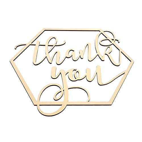 kdheart Wood Plaque Sign Wood Sign Hexagon Wooden Sign Hexagon Shape Wooden Thank You Wedding Supplies Bride and Groom Engagement Photography Props -