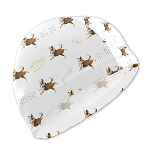 (HHatt Lycra Swim Cap with Shetland Sheepdog Sheltie Dog Print, Swimming Bathing Cap for Boys Girls Kids)