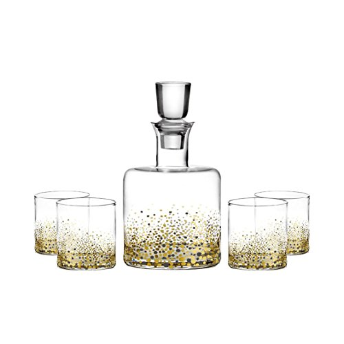 Fitz And Floyd Confetti Black And Gold Flecks Decanter Set | Decanter With Four Stemless Party Wine - Fleck Gold