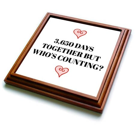 3dRose Xander funny quotes - 3650 days together, but whos counting, black letters and heart pictures - 8x8 Trivet with 6x6 ceramic tile (trv_265918_1)