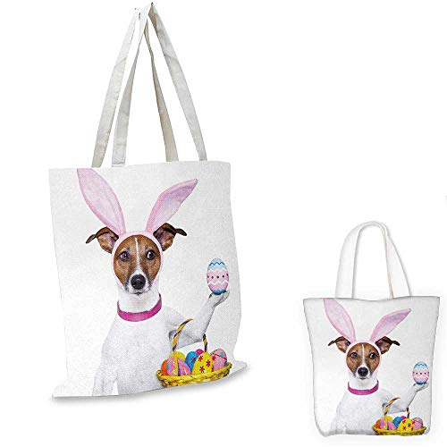 Easter canvas laptop bag Dog Dressed up as Easter Bunny Holding a Basket of Eggs Funny Animal Illustration canvas tote bag with pockets Multicolor. 14