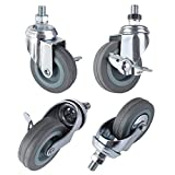 """MVPOWER 3"""" Swivel Caster Wheels, 4 Pack Threaded Stem Mount Dust Cover Rubber Heavy Duty Casters Replacement for Carts, Furniture, Dolly,Trolley, Workbench,Each Bearing 110Lbs"""