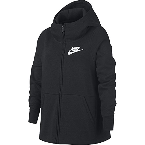 (NIKE Sportswear Girls' Full-Zip Hoodie, Black/White, X-Large)