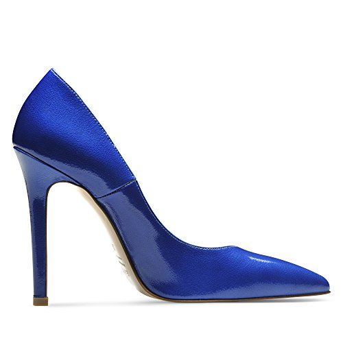 Mia Mujer Pumps lacado con relieve azul real