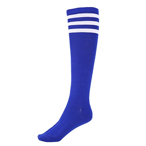 Mystylees Women's Knee High Striped Socks Royal Blue with Three White Stripes, Royal Blue With Three White Stripes, One Size