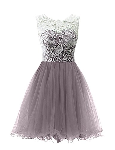 Lace Tulle Ball Dress Gown Homecoming Women's Anlin Short Gray FfOZxqHFw