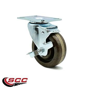Service Caster 4 X 1 5 Brown High Temperature Phenolic Wheel Swivel W Brake 300 Lbs Com Scientific
