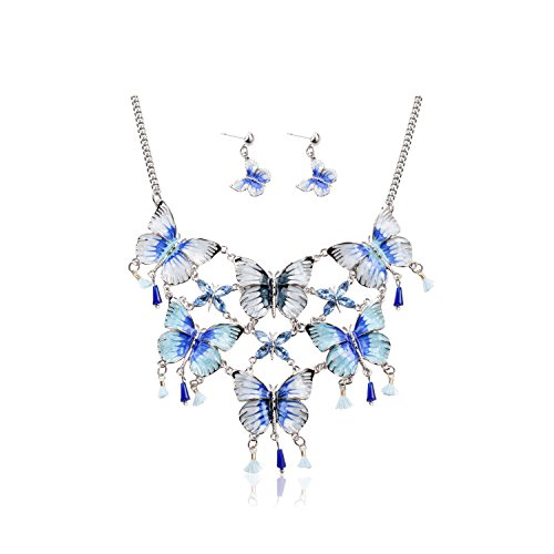 [TAGOO Vintage Statement Necklace and Earrings Set in Crystal Resin for Women&Girls16.94