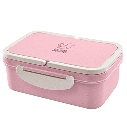 Gotian Double-layer Lunch Box Portable Wheat Straw Picnic Microwave Bento Food Storage Container Pink
