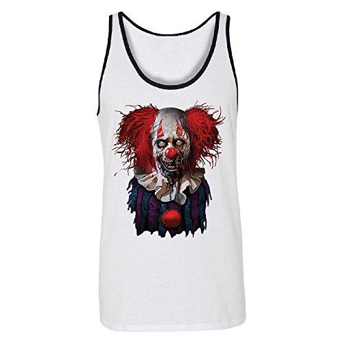 Scary Zombie Clown Men's Tank Top Scared Fancy Halloween Costume Oct. 31st White/Black (Oct 31 Halloween Day)