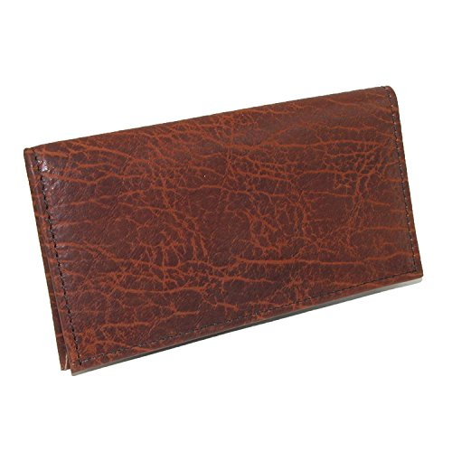 Boston Leather Unisex Textured Bison Leather Checkbook Cover, Tuscan