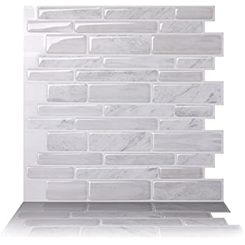 Tic Tac Tiles Anti-mold Peel and Stick Wall Tile in Polito White (10)