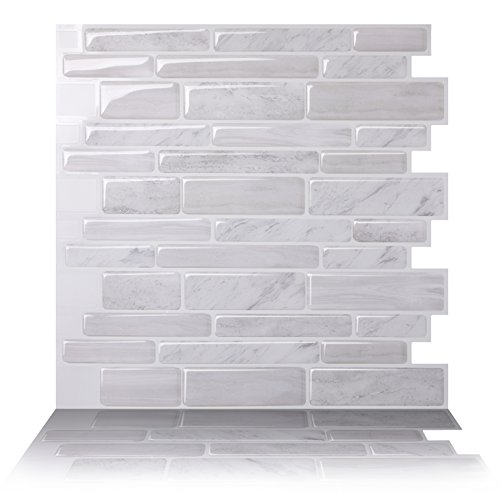 Tic Tac Tiles Anti-mold Peel and Stick Wall Tile in Polito White (5) - Accent Tile Decorative Backsplash Tiles