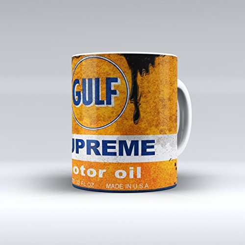 (Coffee Mug 11 Oz Vintage Gulf Motor Oil Can Garage Collectible)