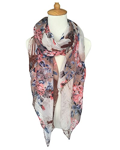 GERINLY Womens Scarves: Ferris Wheel Print Soft Voile Wrap Scarf (Khaki)
