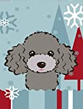 Caroline's Treasures BB1755GF Winter Holiday Silver Gray Poodle Garden Size Flag, Small, Multicolor
