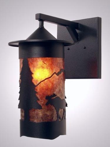 Steel Partners Lighting 2161-55-Wet Sconce Pasadena Moose Wet Location 100 Wattage, Black Finish Amber Mica - Pasadena Craftsman Pendant Light