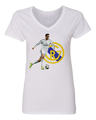 Cristiano Ronaldo Real Madrid CR7 Soccer Women's V-Neck T Shirt (White,S)