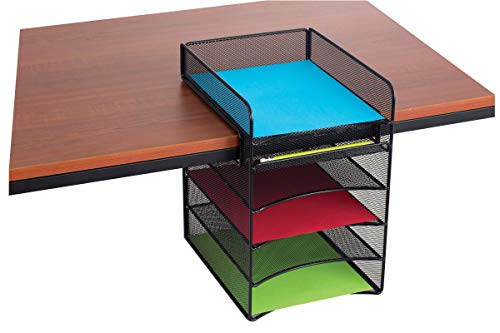 Safco Products Onyx Mesh 5-Tray Underdesk Hanging Organizer 3240BL, Black Powder Coat Finish, Durable Steel Mesh Construction - Drawer Mesh 5 Onyx