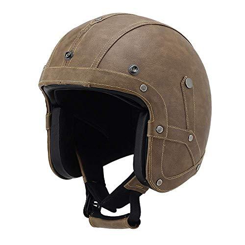 (KPTKⓇ Leather Motorcycle Goggles Vintage Half Helmets Motorcycle Biker Cruiser Scooter Touring Helmet)