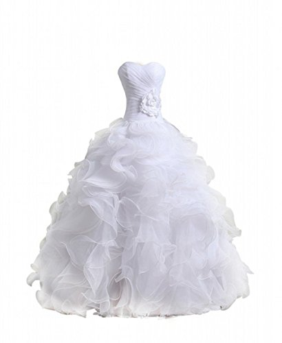 Bridal Mall Women's Drawstring Wedding Bridal Petticoat 6 Hoops Larges Full White (Organza Petticoat)