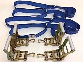 product image for Safe 'n Secure 10ft Diamond Weave Lasso Strap with O-Ring and Finger Hook Ratchet (Blue, Four)