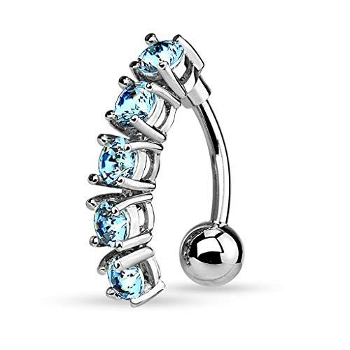 Pierced Owl 5 CZ Crystal Vertical Drop Reverse Belly Button Navel Ring (Silver Tone/Aqua)