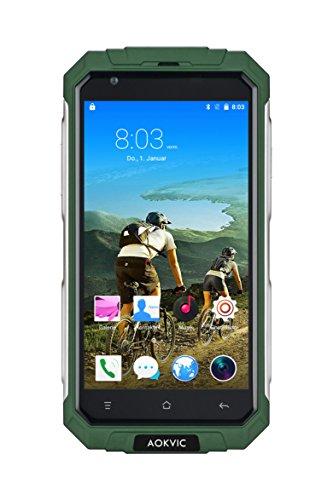 Aokvic ® V9+ Staubdicht Stoßfest Robuste Ohne Vertrag Smartphone Android 5.1 Quad Core 8G ROM 5.0 Zoll QHD 3G GSM Dual SIM GPS AGPS Outdoor Entsperrt handy Gratis Geschenk 16GB SD Card (Grün)