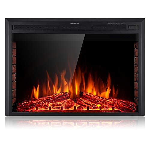 SUNLEI 39'' Electric Fireplace Insert, Freestanding& Recessed Built in Fireplace Electric Heater LED Multi-Color Flame w/Logs, Brick Panel, Touch Screen,Remote Control,Timer, 750W-1500W, Black
