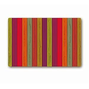 "Colorido de madera arte interior Bienvenido Felpudo, Felpudo de goma 20""x 32"""