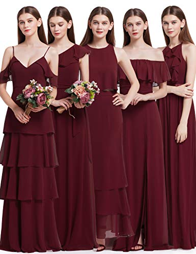 Elegant A Burgundy Kleid Damen 07201 Ever Pretty Brautjungfern Lang 6F8BE