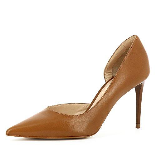 Evita Shoes Jessica Escarpins Femme Semi-Ouverts Cuir Lisse Cognac IB71OpAcNd