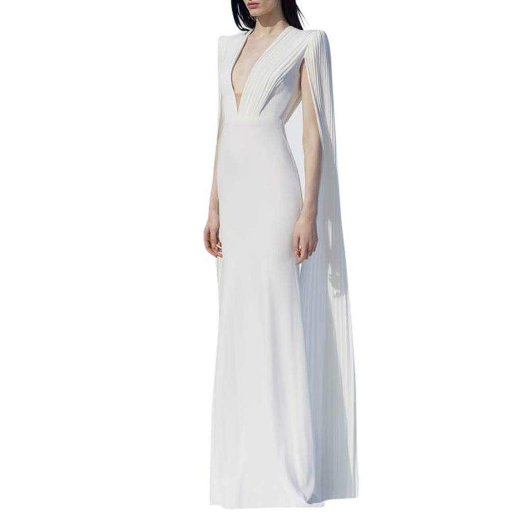 Women Long Dresses Sexy Formal Evening Deep V Sleeveless Bodycon Cocktail Mermaid Dress White
