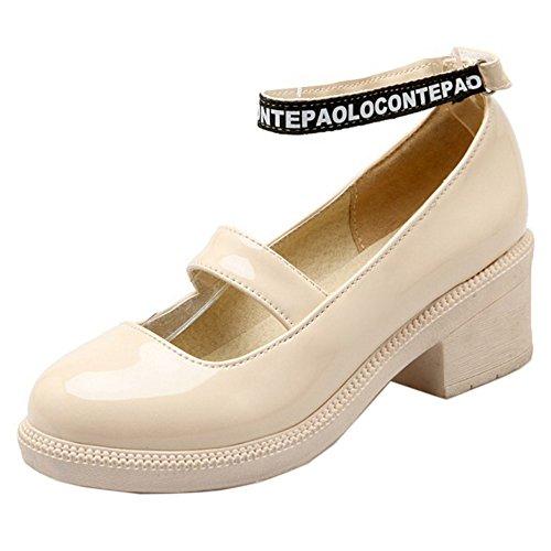 COOLCEPT Mujer Moda Boca Baja Zapatos Correa de Tobillo Bombas Mary Janes Zapatos Beige