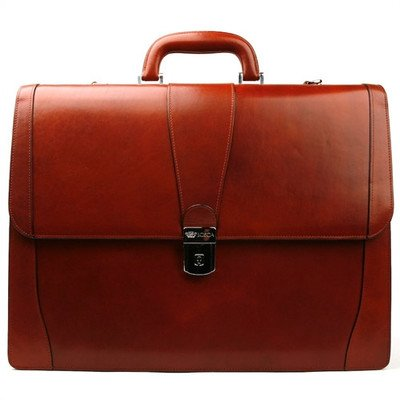 - Old Leather Laptop Briefcase Color: Cognac