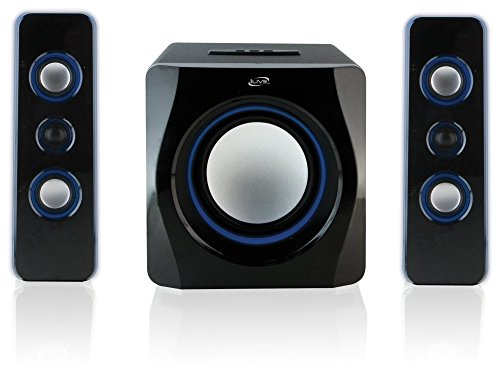- iLive Bluetooth Speaker System with Built-In Subwoofer, 7.28 x 8.86 x 7.28 Inches, Black (iHB23B)