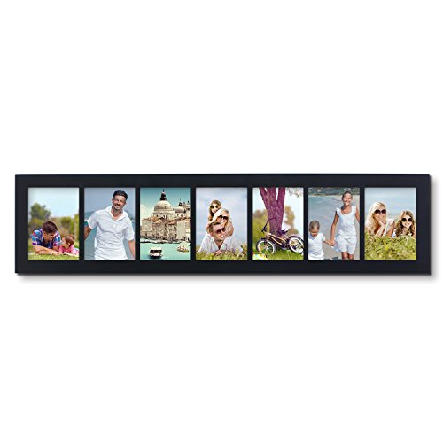 Adeco Decorative Black Color Wood Divided Wall Hanging Artwork Print Picture Photo Collage Frame, 7 Opening 5x7