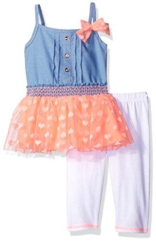 Little Lass Baby Toddler Girls' 2 Pc Skimmer Set Heart Tulle, Flamingo, 4T