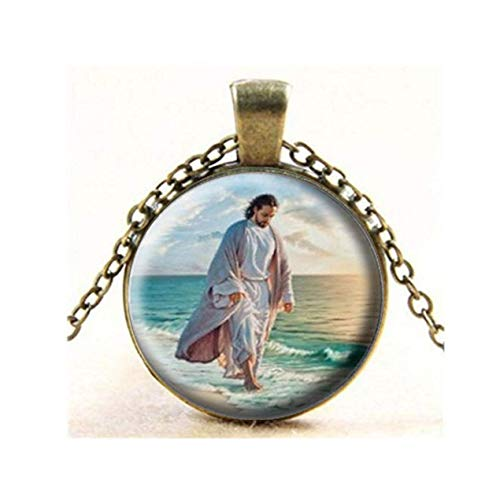 Jesus at The Sea of Galilee Glass Photo Necklace Pendant,Gift Keychain