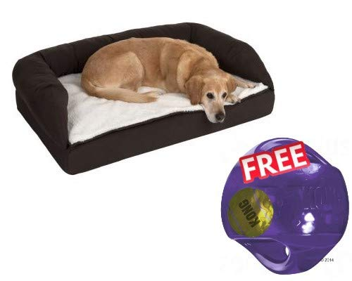 Orthopaedic Dog Bed Brown Beige Memory Foam with High Border Raised Entrance and Completely Removable Cover for Older Dogs 115 x 70 x 32 cm FREE Kong Jumbler Ball