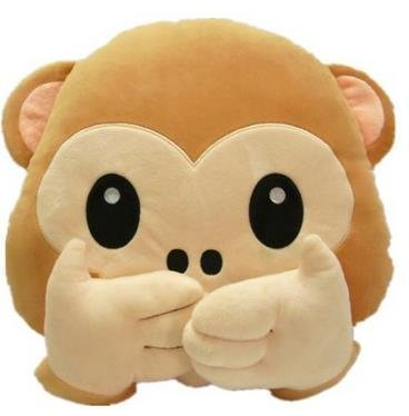 TS 33cm Emoji Emoticon Monkey Soft Plush Stuffed Pillow Cushion Stuffed Toys Present Gifts (Don't Speak)