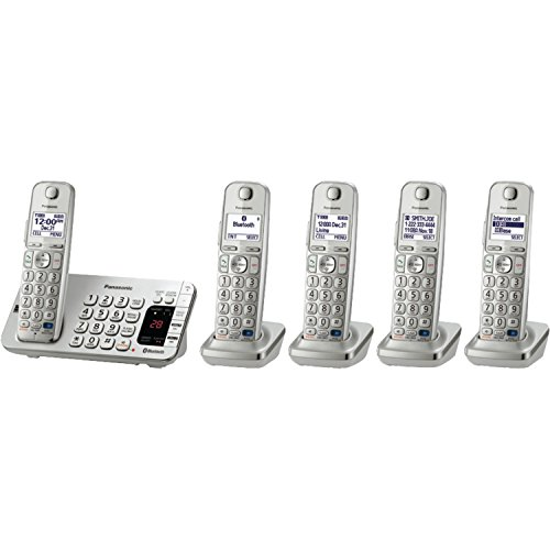 Panasonic KX-TGE275S 5-Cordless Handsets Link2Cell Bluetooth Corldess Phone with Answering Machine, Silver by Panasonic