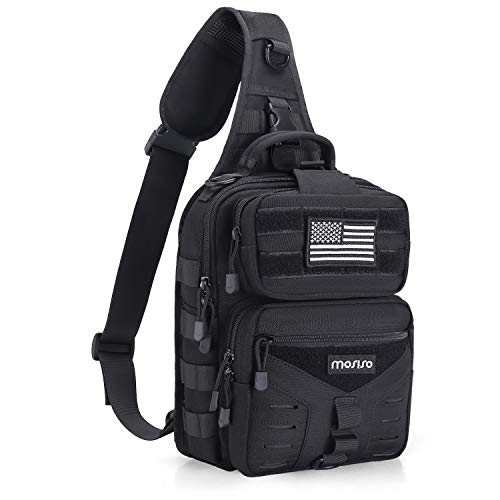 MOSISO Tactical Sling Bag, Single Shoulder Backpack Military Army Assault Molle Rucksack Everyday Carrying Daypack Pouch for Outdoor Sports Hiking Hunting Fishing Camping Training, Black
