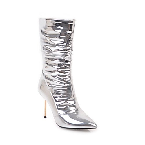 Kaloosh Women's Modern Pointed Toe Stiletto Patent Leather Mid Calf Boots